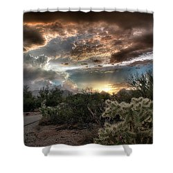 Shower Curtain featuring the photograph Tucson Mountain Sunset by Lynn Geoffroy
