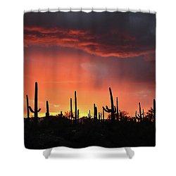 Tucson Sunset With Rain Shower Curtain