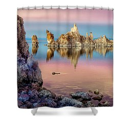 Shower Curtain featuring the photograph Tufas At Mono Lake by Rikk Flohr