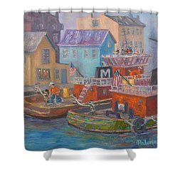 Tug Boats Portsmouth Maritime Painting Shower Curtain