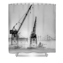 Tug With Cranes Shower Curtain