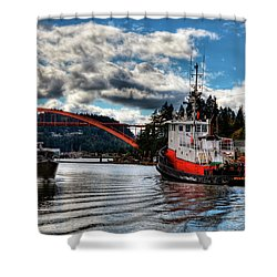Tugboat At The Rainbow Bridge Shower Curtain by David Patterson