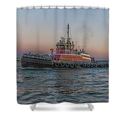 Tugboat Buckley Mcallister At Sunset Shower Curtain