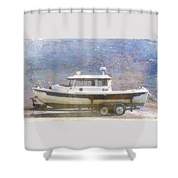 Tugboat Shower Curtain by Cynthia Powell
