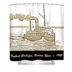 Shower Curtain featuring the photograph Tugboat Gladisfen Hudson River C 1900 Vintage Photograph by A Gurmankin