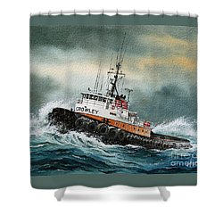 Tugboat Hunter Crowley Shower Curtain