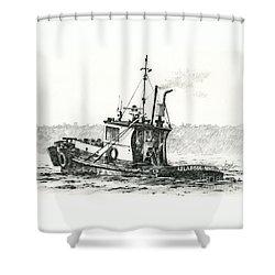 Tugboat Lela Foss Shower Curtain by James Williamson