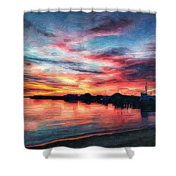 Tugboat Sirius At Sunrise Shower Curtain