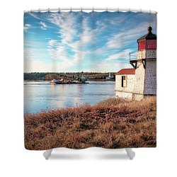 Tugboat, Squirrel Point Lighthouse Shower Curtain