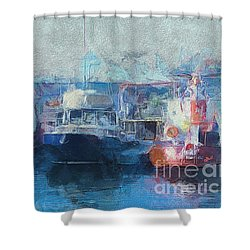 Tugs Together  Shower Curtain