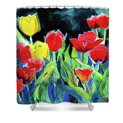 Shower Curtain featuring the painting Tulip Bed At Dark by Kathy Braud