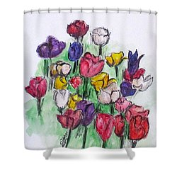 Tulip Bed Shower Curtain by Clyde J Kell