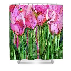 Shower Curtain featuring the mixed media Tulip Bloomies 1 - Pink by Carol Cavalaris