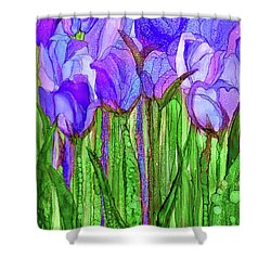 Shower Curtain featuring the mixed media Tulip Bloomies 1 - Purple by Carol Cavalaris