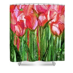 Shower Curtain featuring the mixed media Tulip Bloomies 1 - Red by Carol Cavalaris