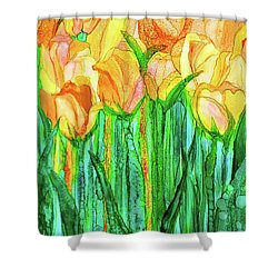 Shower Curtain featuring the mixed media Tulip Bloomies 1 - Yellow by Carol Cavalaris