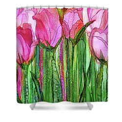 Shower Curtain featuring the mixed media Tulip Bloomies 2 - Pink by Carol Cavalaris