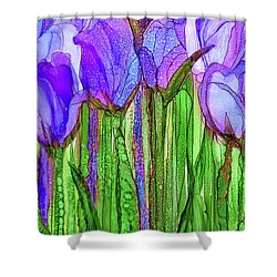 Shower Curtain featuring the mixed media Tulip Bloomies 2 - Purple by Carol Cavalaris