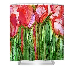 Shower Curtain featuring the mixed media Tulip Bloomies 2 - Red by Carol Cavalaris