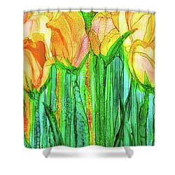 Shower Curtain featuring the mixed media Tulip Bloomies 2 - Yellow by Carol Cavalaris