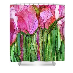 Shower Curtain featuring the mixed media Tulip Bloomies 3 - Pink by Carol Cavalaris