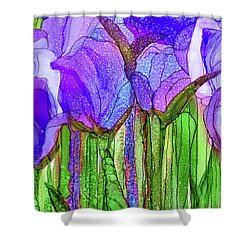Shower Curtain featuring the mixed media Tulip Bloomies 3 - Purple by Carol Cavalaris