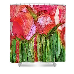 Shower Curtain featuring the mixed media Tulip Bloomies 3 - Red by Carol Cavalaris
