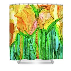 Shower Curtain featuring the mixed media Tulip Bloomies 3 - Yellow by Carol Cavalaris