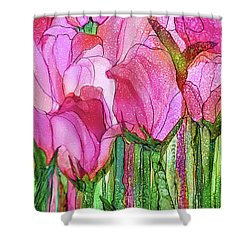 Shower Curtain featuring the mixed media Tulip Bloomies 4 - Pink by Carol Cavalaris