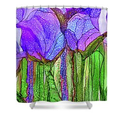 Shower Curtain featuring the mixed media Tulip Bloomies 4 - Purple by Carol Cavalaris