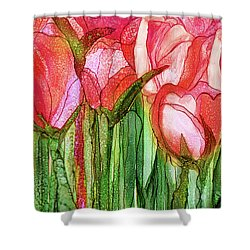 Shower Curtain featuring the mixed media Tulip Bloomies 4 - Red by Carol Cavalaris
