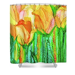 Shower Curtain featuring the mixed media Tulip Bloomies 4 - Yellow by Carol Cavalaris