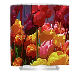 Tulip Confusion Shower Curtain by Sharon Talson