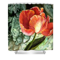 Shower Curtain featuring the painting Tulip Dance by Sherry Shipley