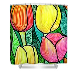 Shower Curtain featuring the painting Tulip Expo by Jim Harris