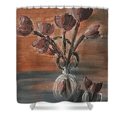 Tulip Flowers Bouquet In Two Round Water Filled Small Globe Shaped Vases On A Table Still Life Of Bo Shower Curtain by MendyZ