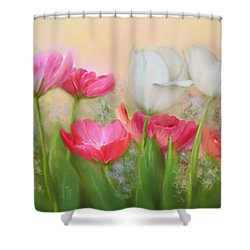 Shower Curtain featuring the painting Tulip Garden by Bonnie Willis