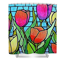 Shower Curtain featuring the painting Tulip Garden by Jim Harris