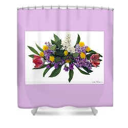 Shower Curtain featuring the digital art Tulip Lilac And Dandelion Bouquet by Lise Winne