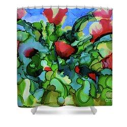 Tulip Poppy Shower Curtain by Johanne Peale