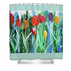 Shower Curtain featuring the painting Tulip Season by Nancy Jolley