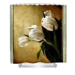Tulip Side Sepia Shower Curtain by Linda Olsen