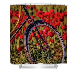 Shower Curtain featuring the photograph Tulips And Bicycle by Susan Candelario