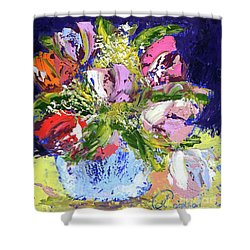 Tulips And Gypsophila Shower Curtain