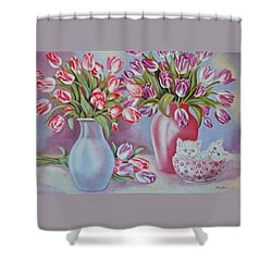 Tulips And Kittens Shower Curtain by Jan Law
