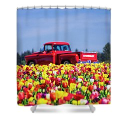 Tulips And Red Chevy Truck Shower Curtain