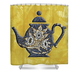 Tulips And Willow Pattern Teapot Shower Curtain