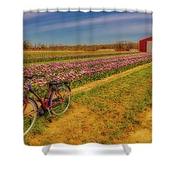 Shower Curtain featuring the photograph Tulips, Bicycle And Barn by Susan Candelario