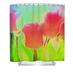 Tulips In Abstract 2 Shower Curtain by Cathy Anderson