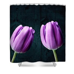 Tulips On Wood Shower Curtain